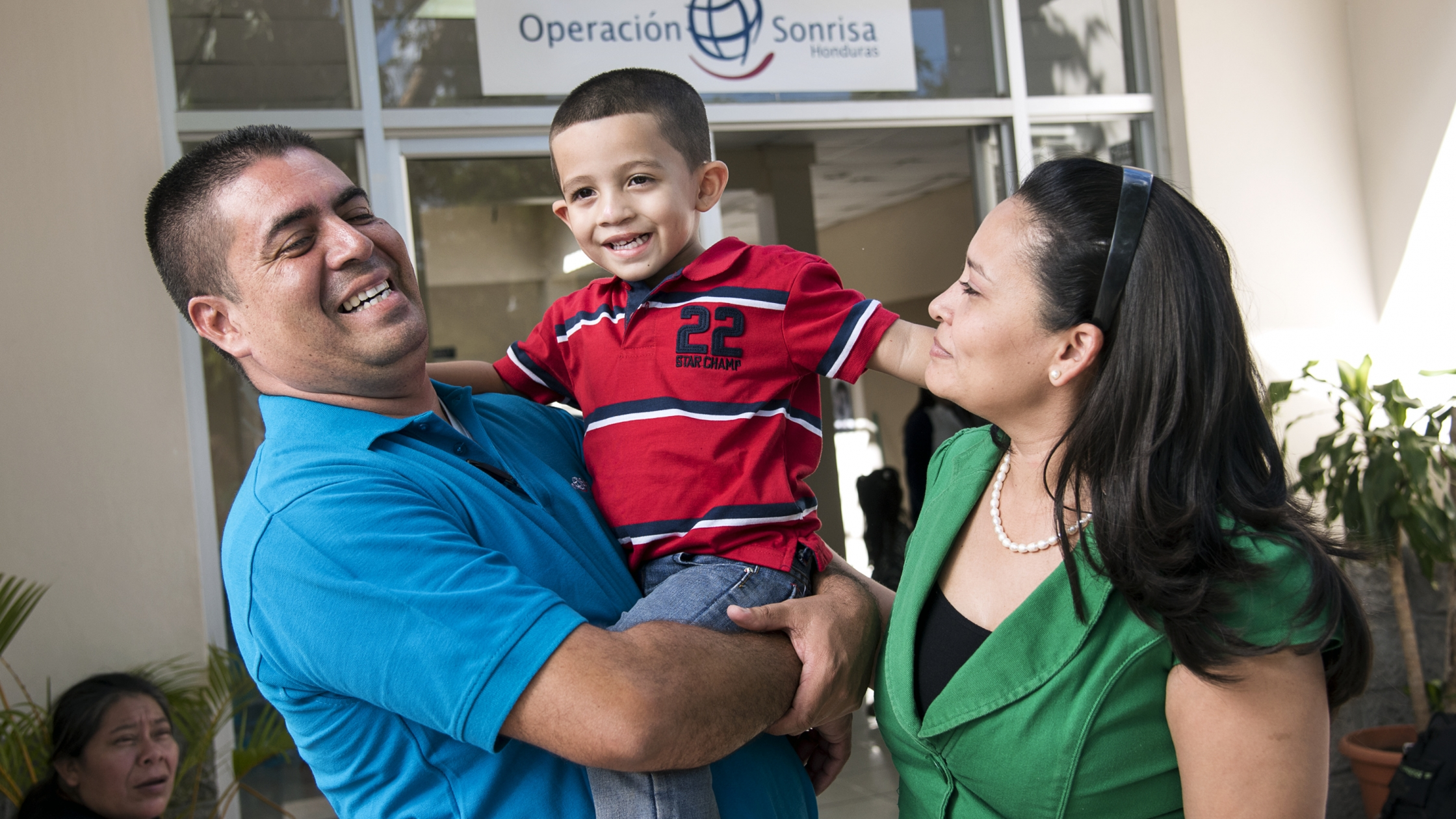 Patient Advocate Alex Guerrero with his wife and son at the Operation Smile Cleft Lip and Cleft Palate Integral Care Clinic in Tegucigalpa, Honduras