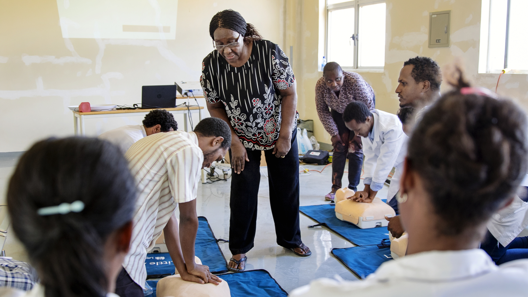 Operation Smile volunteer nurse and AHA instructor Florence Mangula teaches CPR to medical professionals in Jimma, Ethiopia.